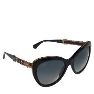 """نظارة شمسية شانيل """"5354 بلوومينغ بيجو"""" ملونة عيون قطة غرادينت زرقاء و ذهبية اللونو أزرق كحلي"""