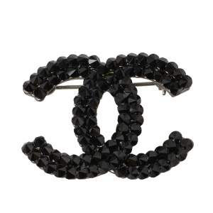 Chanel Black Crystal Spikes CC Pin Brooch