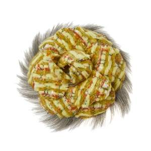 Chanel Yellow Tweed and Fur Detail Camellia Pin Brooch