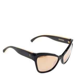 Chanel Black / Gold Mirrored 5271 Cat Eye Sunglasses