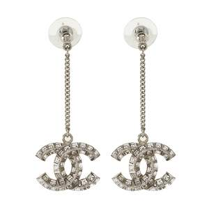 Chanel Silver Tone Crystal CC Dangle Earrings