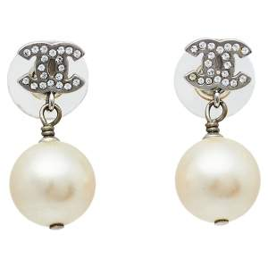 Chanel Silver Tone Crystal Pearl CC Drop Earrings