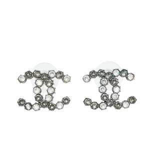 Chanel Silver Tone Crystal CC Stud Earrings
