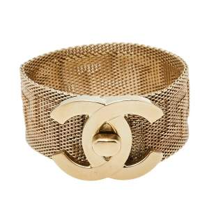 Chanel Pale Gold Tone Mesh CC Turnlock Bracelet M