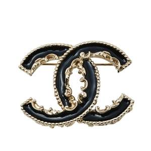 Chanel Black Enamel CC Baroque Pin Brooch