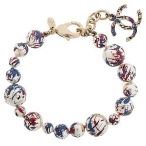 Chanel Multicolor Paint Splatter Faux Pearl CC Charm Bracelet