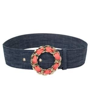 Chanel Blue Denim Chain Buckle Waist Belt 85 CM
