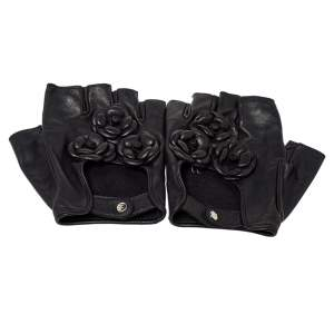 Chanel Black Lambskin Leather Camellia Fingerless Gloves 8.5
