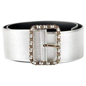 Chanel Metallic Silver Thick W/Chain Buckle Belt