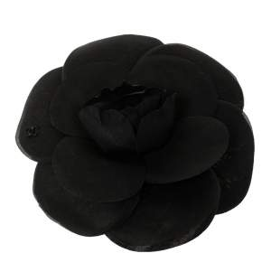 Chanel Black Organza Camellia Pin Brooch