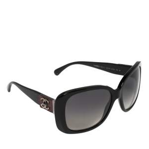 Chanel Black / Grey Leather CC Detail 5234-Q Square Sunglasses