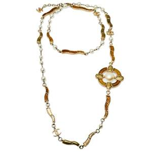 Chanel Metallic Gripoix Faux Pearl CC Charm Necklace