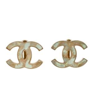 Chanel Shimmer Resin Inlay CC Gold Tone Clip On Earrings