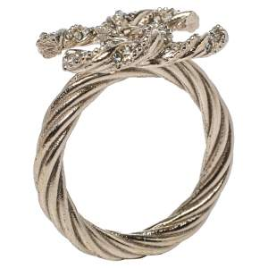Chanel Pale Gold Tone Crystal CC Twist Ring Size EU 54.5
