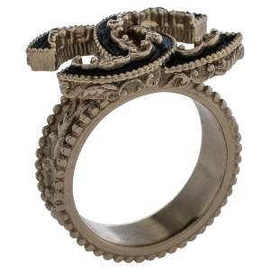 Chanel Pale Gold Tone Black Enamel Baroque CC Ring Size EU 52.5