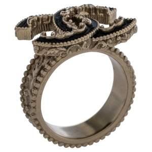 Chanel Pale Gold Tone Black Enamel Baroque CC Ring Size EU 52.5