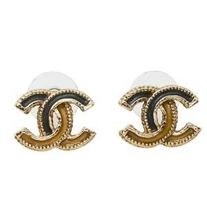 Chanel Bicolor Enamel Gold Tone CC Stud Earrings