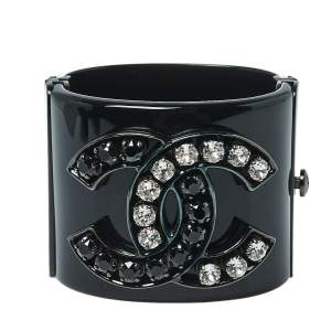 Chanel CC Black Resin Crystal Studded Silver Tone Wide Cuff Bracelet