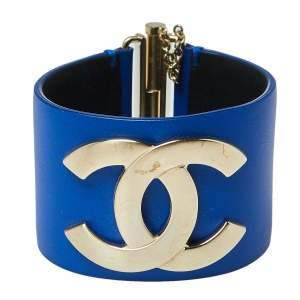 Chanel Blue Leather CC Gold Tone Wide Cuff Bracelet M