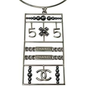 Chanel Gunmetal Tone No. 5 Pendant Choker Necklace