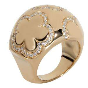 Chanel Ring Flower Dome 18K Yellow Gold Ring Size EU 52