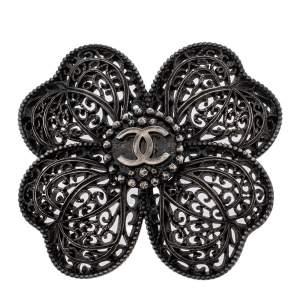 Chanel Gunmetal Tone Filigree Floral Pin Brooch