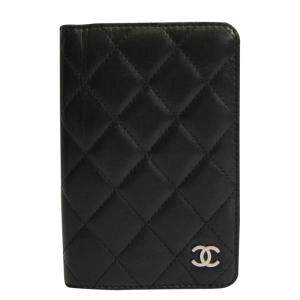 Chanel Black Quilted Leather Passport Holder