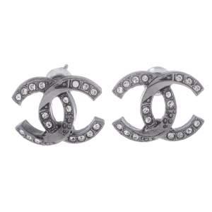 Chanel Gunmetal Tone Twisted CC Crystal Stud Earrings