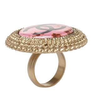 Chanel Pink Enamel CC Round Coctail Ring Size 54.5