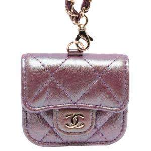 Chanel Purple Quilted Leather AirPods Pro Case with Chain