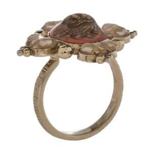 Chanel Coral & Cream Enamel CC Cocktail Ring Size EU 55