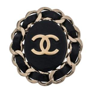 Chanel Black Leather Chainlink CC Pin Brooch