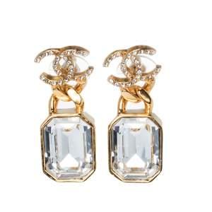 Chanel Gold Tone CC Quartz Crystal Drop Earrings