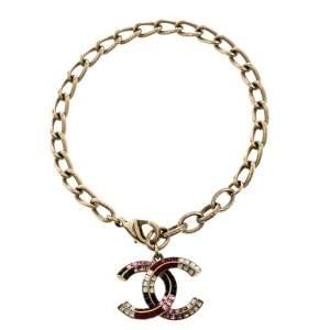 Chanel Multicolor Baguette Crystal CC Charm Bracelet