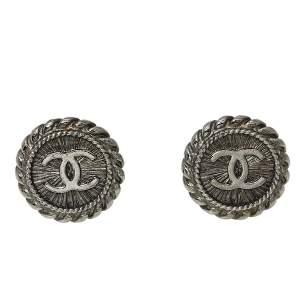 Chanel Gunmetal Tone CC Clip On Stud Earrings