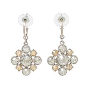 Chanel CC Floral Crystal Silver Tone Drop Earrings