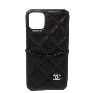 Chanel Black Quilted Caviar Classic iPhone 11 Pro Max Case
