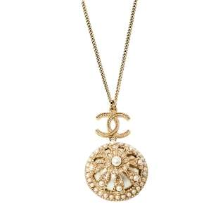 Chanel Gold Tone Faux Pearl Floral Dome Pendant Chain Necklace