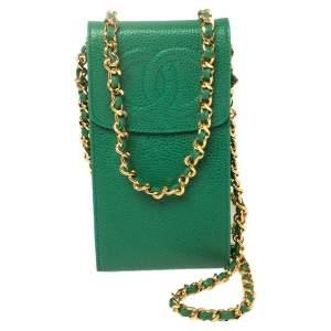 Chanel Green Caviar Leather CC Crossbody Phone Case