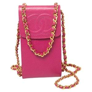 Chanel Fuchsia Caviar Leather CC Crossbody Phone Case