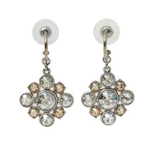 Chanel Silver Tone Crystal Floral Drop Earrings