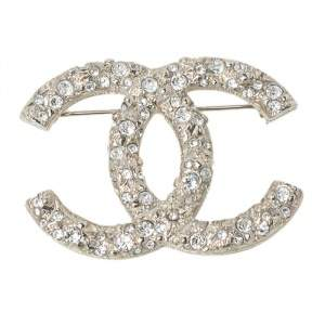 Chanel CC Crystal Embellished Silver Tone Pin Brooch
