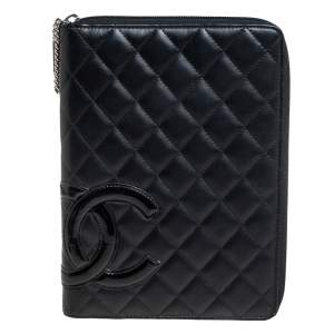 Chanel Black Leather Large Cambon Agenda Cover