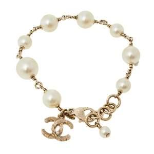 Chanel Pale Gold Tone Faux Pearl CC Charm Bracelet