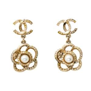 Chanel Pale Gold Tone Crystal Camellia Drop Earrings