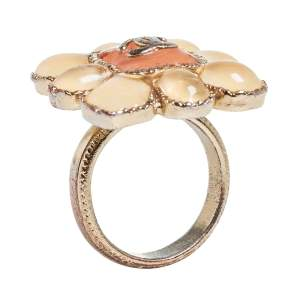 Chanel CC Gold Tone and Resin Cocktail Ring Size 52.5