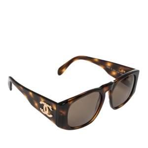 Chanel Brown Tortoise Shell 01451 CC Square Sunglasses