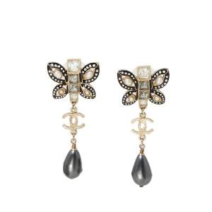 Chanel Crystal Faux Pearl Butterfly Gold Tone Drop Earrings