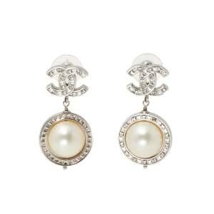 Chanel CC Baguette Crystal Faux Pearl Silver Tone Drop Earrings