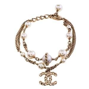 Chanel Gold Tone Pearl Double Chain CC Charm Bracelet